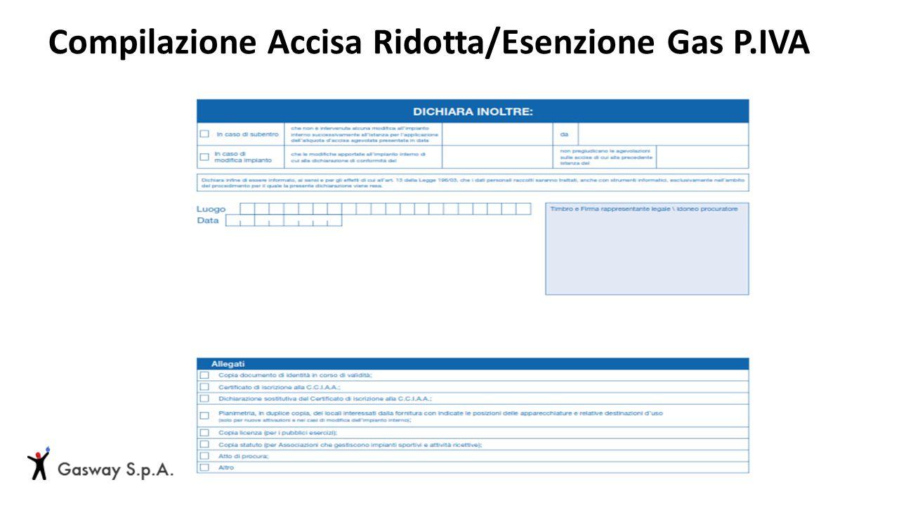 Compilazione Accisa Ridotta/Esenzione Gas P.IVA