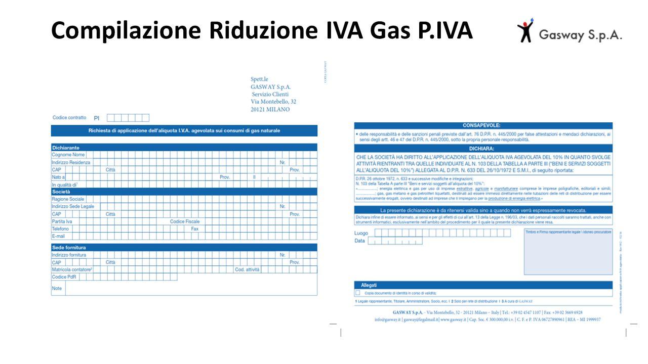 Compilazione Riduzione IVA Gas P.IVA
