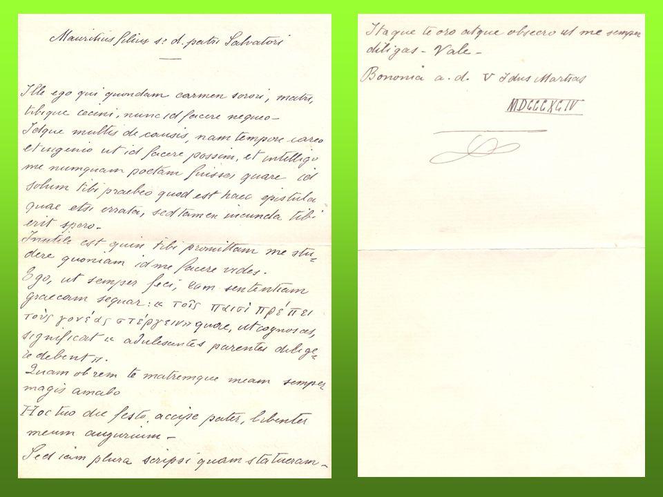 Lettera di auguri di mio nonno (14 anni) al padre per il suo compleanno in latino con citazioni in greco.