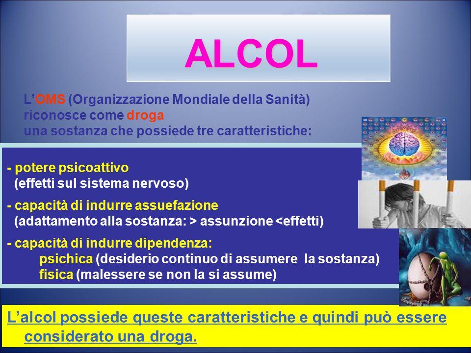 ALCOL L'OMS (Organizzazione Mondiale della Sanità) riconosce come droga. una sostanza che possiede tre caratteristiche: