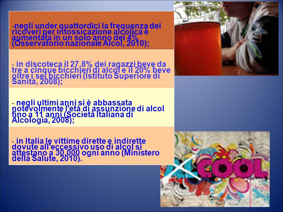 -negli under quattordici la frequenza dei ricoveri per intossicazione alcolica è aumentata in un solo anno del 4% (Osservatorio nazionale Alcol, 2010);