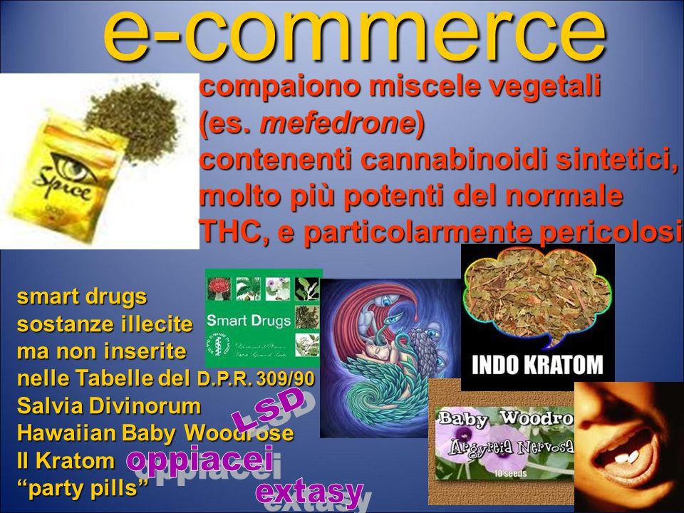 e-commerce compaiono miscele vegetali (es. mefedrone)