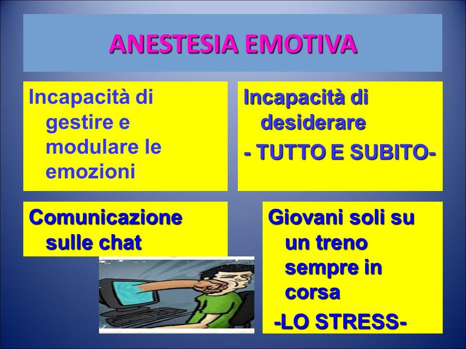 ANESTESIA EMOTIVA Incapacità di gestire e modulare le emozioni