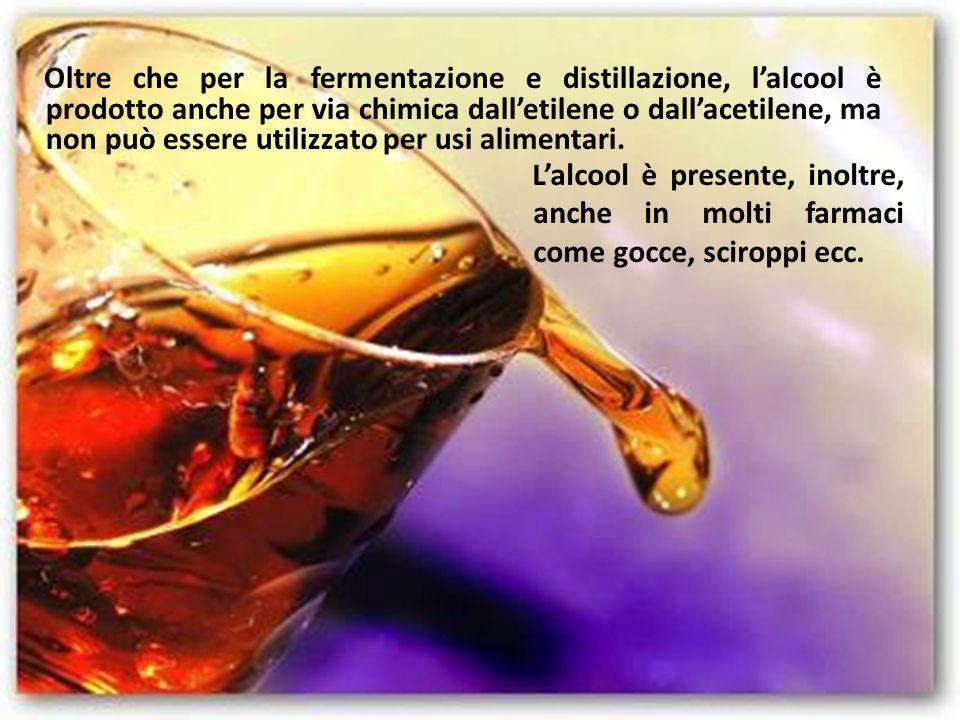 Oltre che per la fermentazione e distillazione, l'alcool è prodotto anche per via chimica dall'etilene o dall'acetilene, ma non può essere utilizzato per usi alimentari.