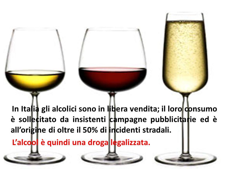 In Italia gli alcolici sono in libera vendita; il loro consumo è sollecitato da insistenti campagne pubblicitarie ed è all'origine di oltre il 50% di incidenti stradali.