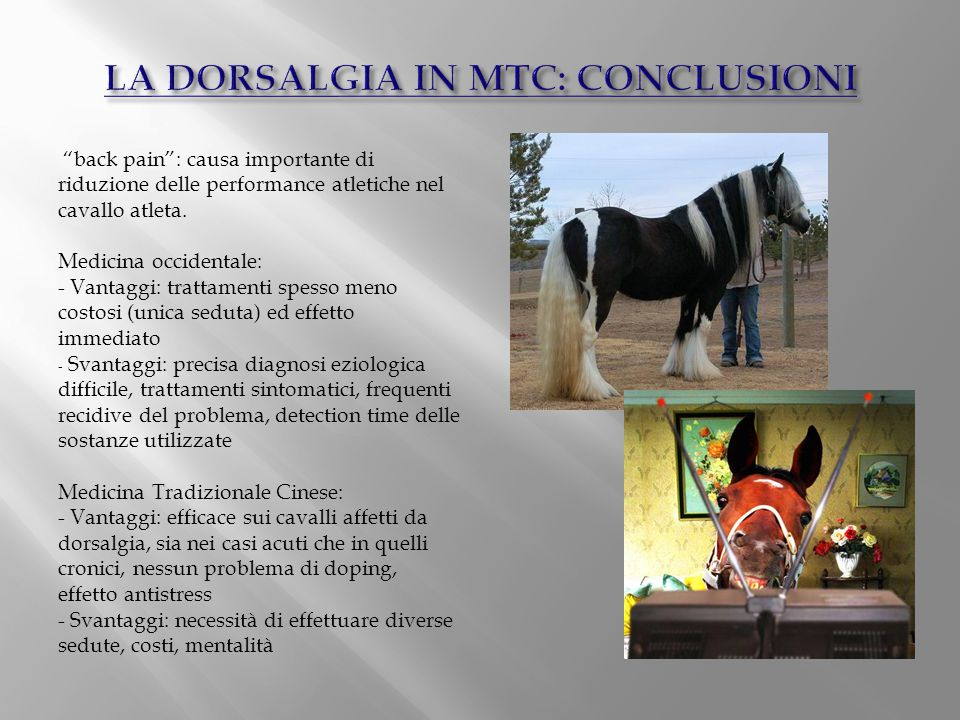 LA DORSALGIA IN MTC: CONCLUSIONI