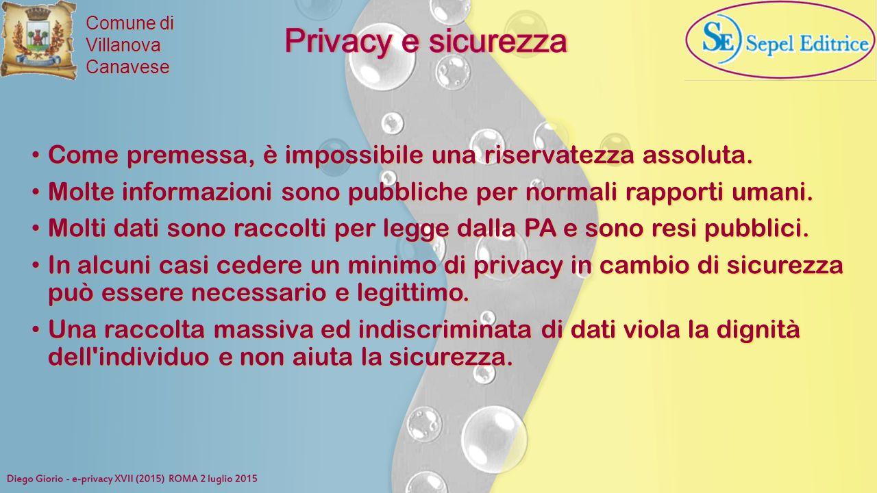 Privacy e sicurezza Come premessa, è impossibile una riservatezza assoluta. Molte informazioni sono pubbliche per normali rapporti umani.