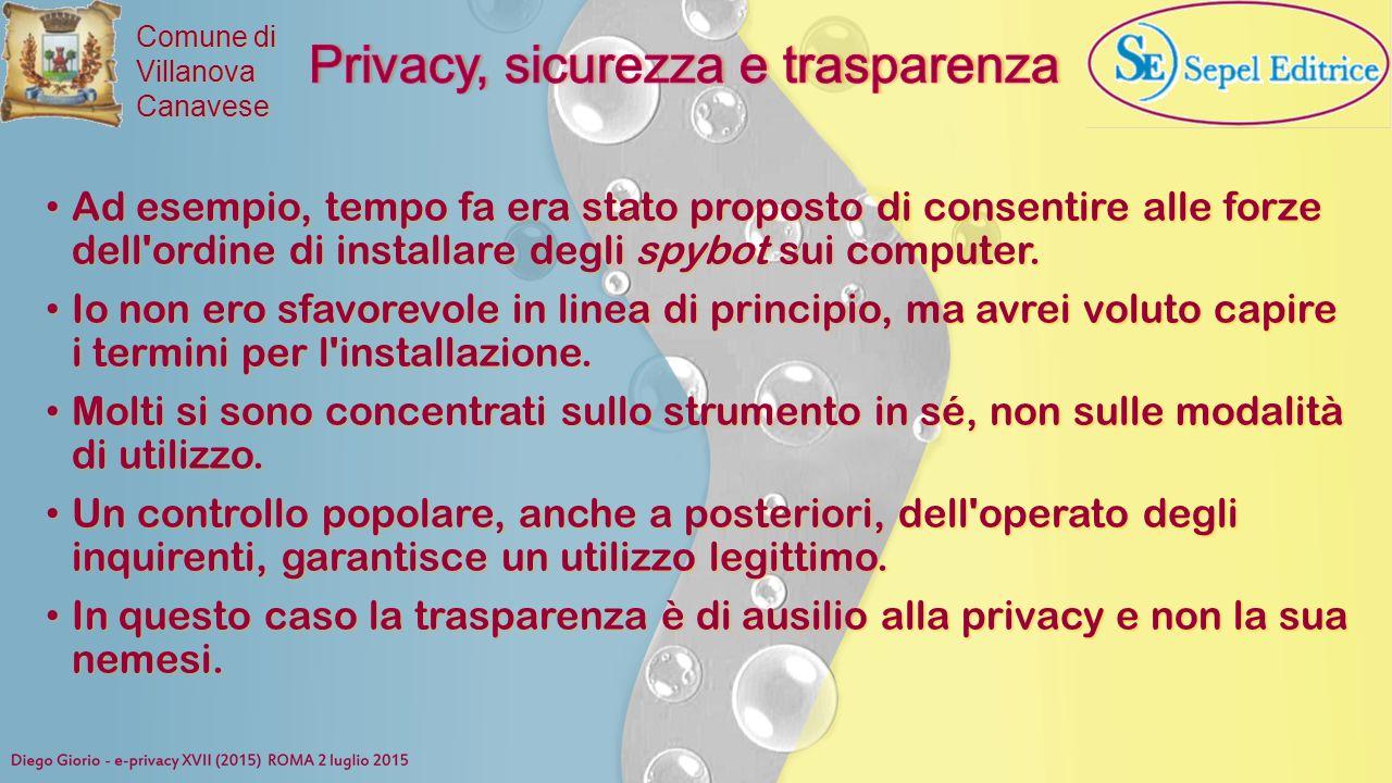 Privacy, sicurezza e trasparenza