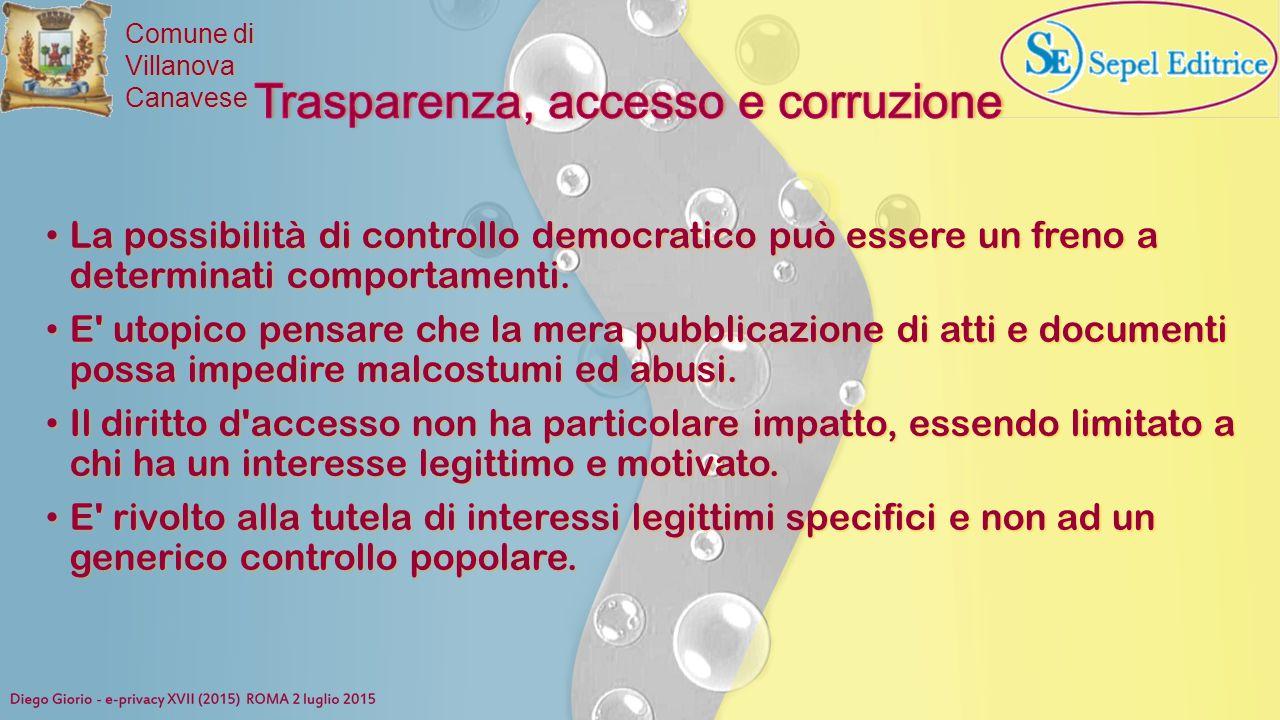 Trasparenza, accesso e corruzione