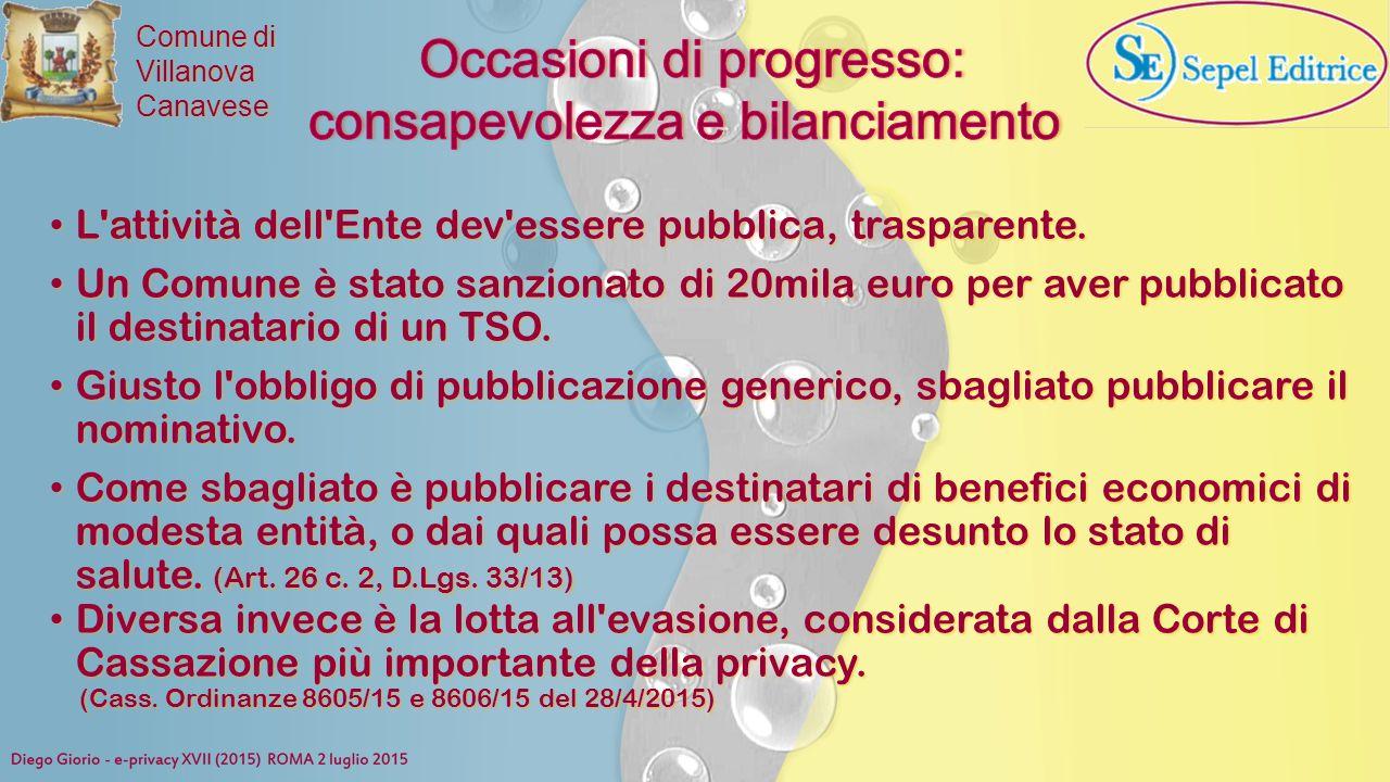 Occasioni di progresso: consapevolezza e bilanciamento