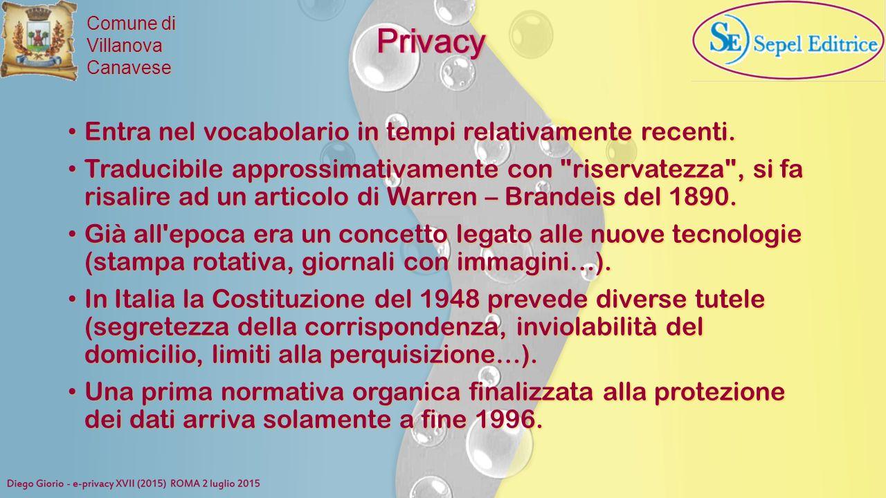 Privacy Entra nel vocabolario in tempi relativamente recenti.