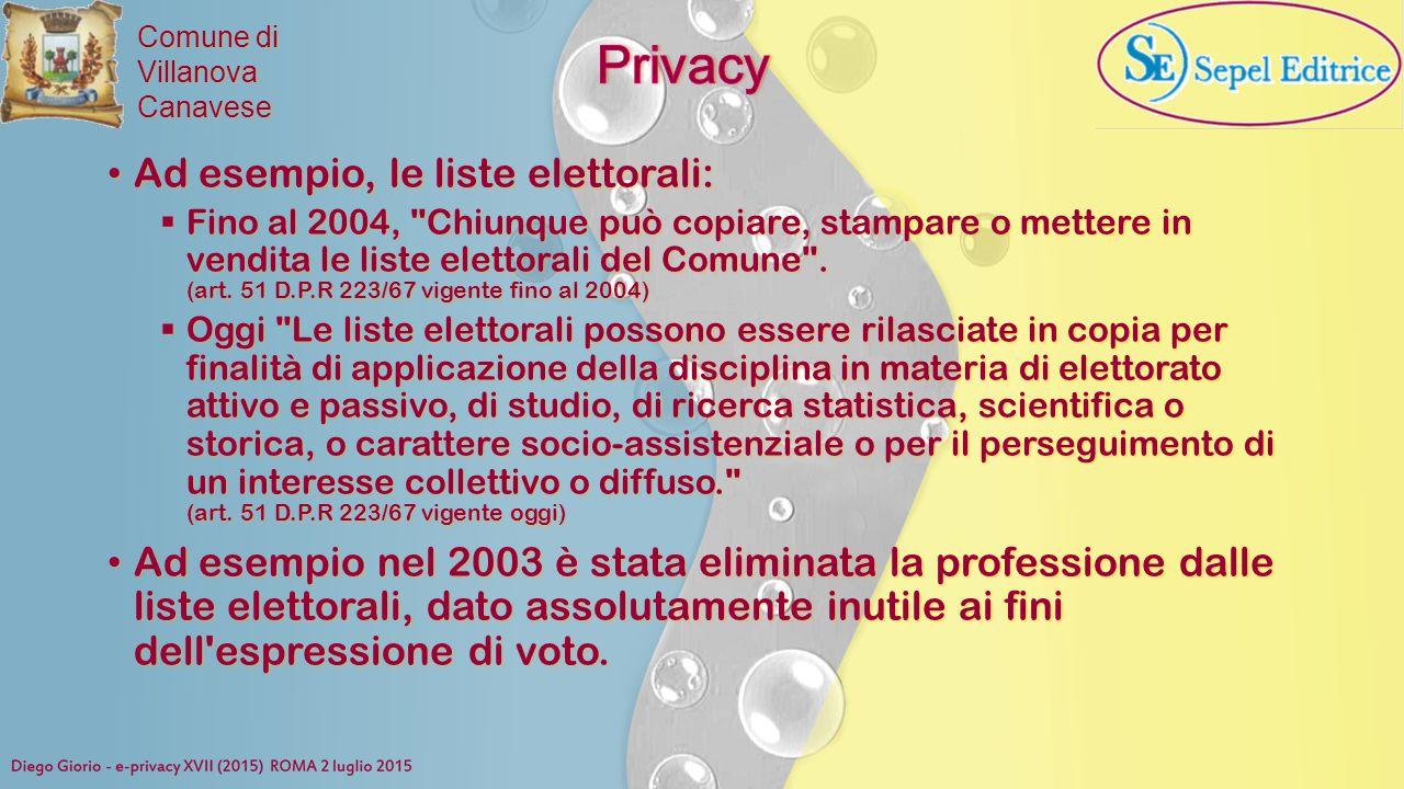 Privacy Ad esempio, le liste elettorali: