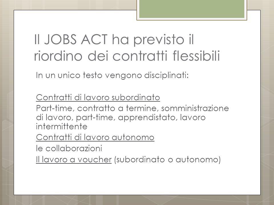 Il JOBS ACT ha previsto il riordino dei contratti flessibili