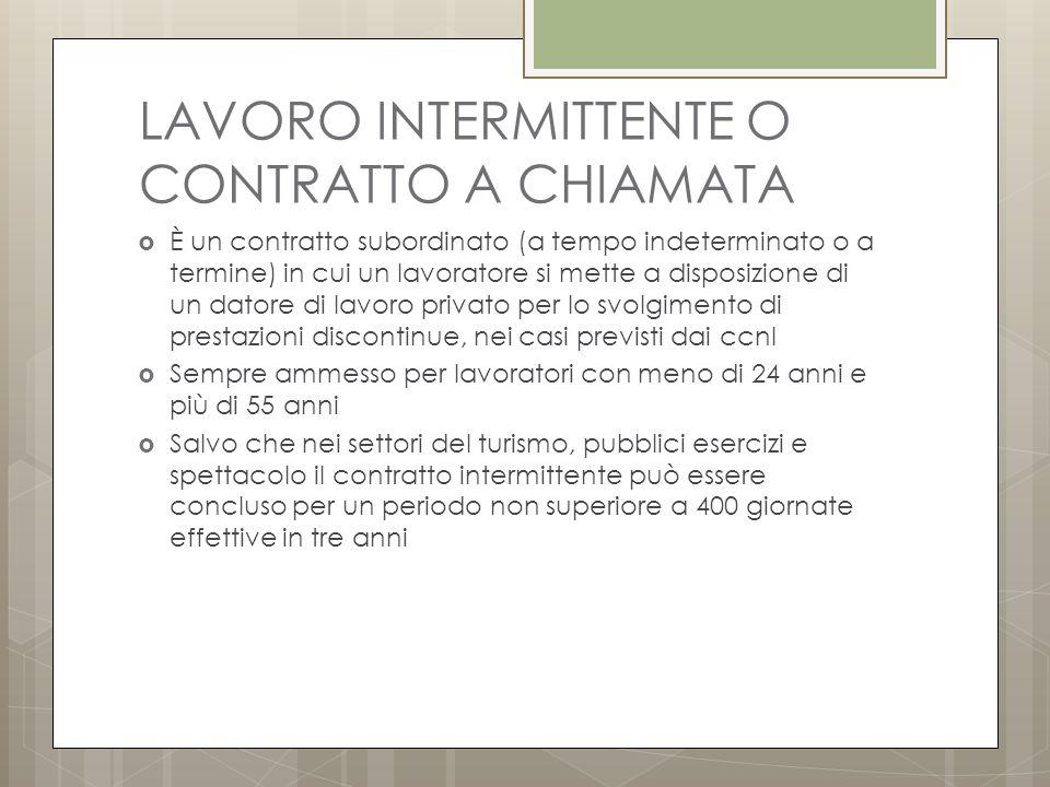 LAVORO INTERMITTENTE O CONTRATTO A CHIAMATA
