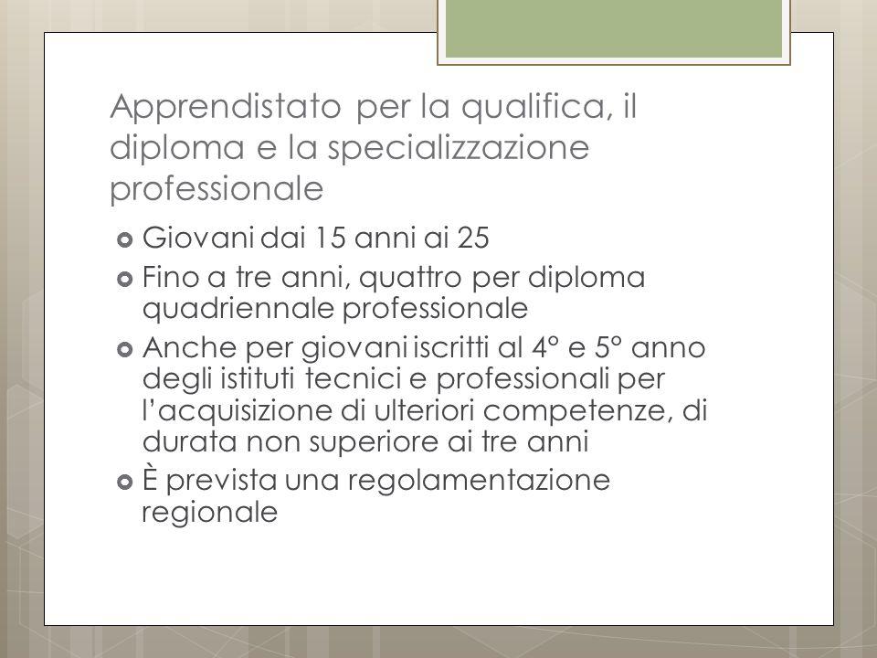 Apprendistato per la qualifica, il diploma e la specializzazione professionale