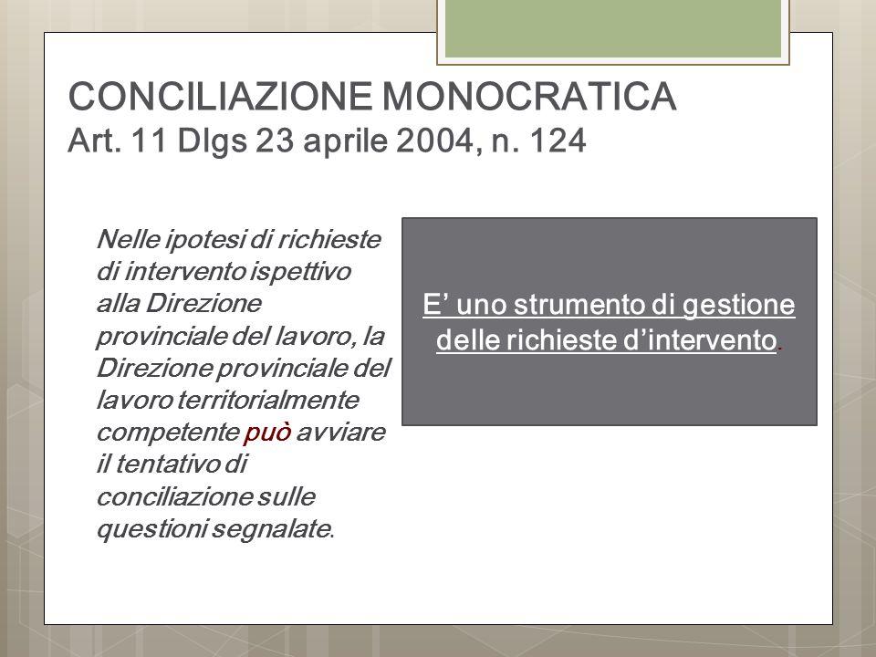 CONCILIAZIONE MONOCRATICA Art. 11 Dlgs 23 aprile 2004, n. 124