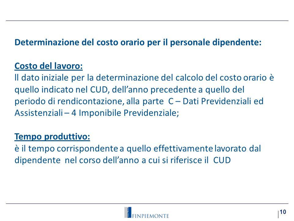 Determinazione del costo orario per il personale dipendente:i)
