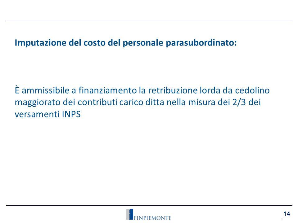 Imputazione del costo del personale parasubordinato:i)