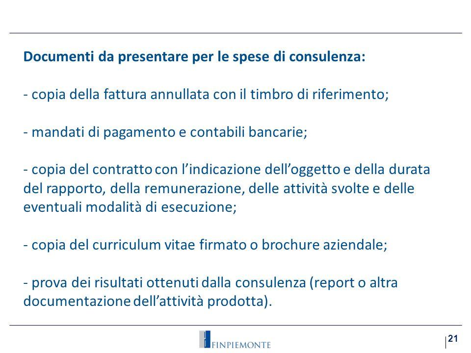 Documenti da presentare per le spese di consulenza: Costo del lavoro:
