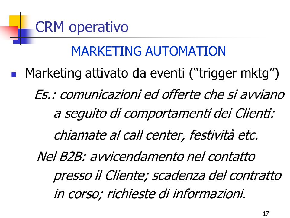 CRM operativo MARKETING AUTOMATION