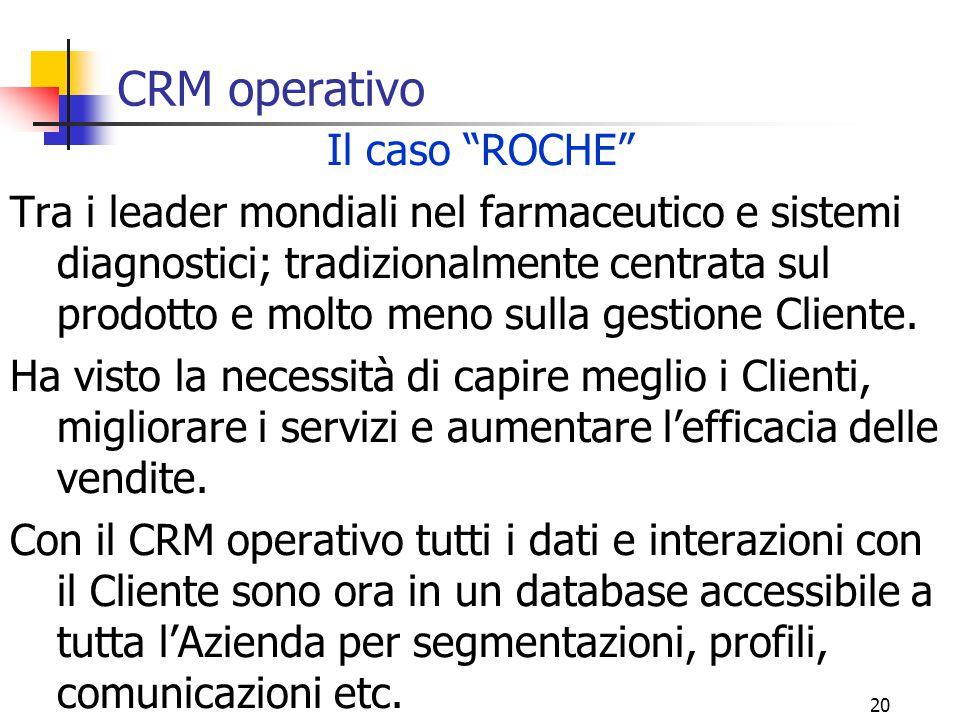 CRM operativo Il caso ROCHE