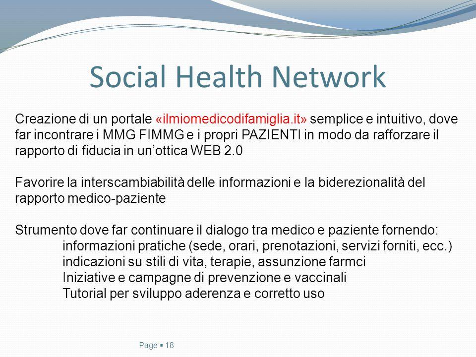 Social Health Network Creazione di un portale «ilmiomedicodifamiglia.it» semplice e intuitivo, dove.