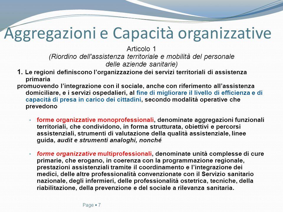 Aggregazioni e Capacità organizzative