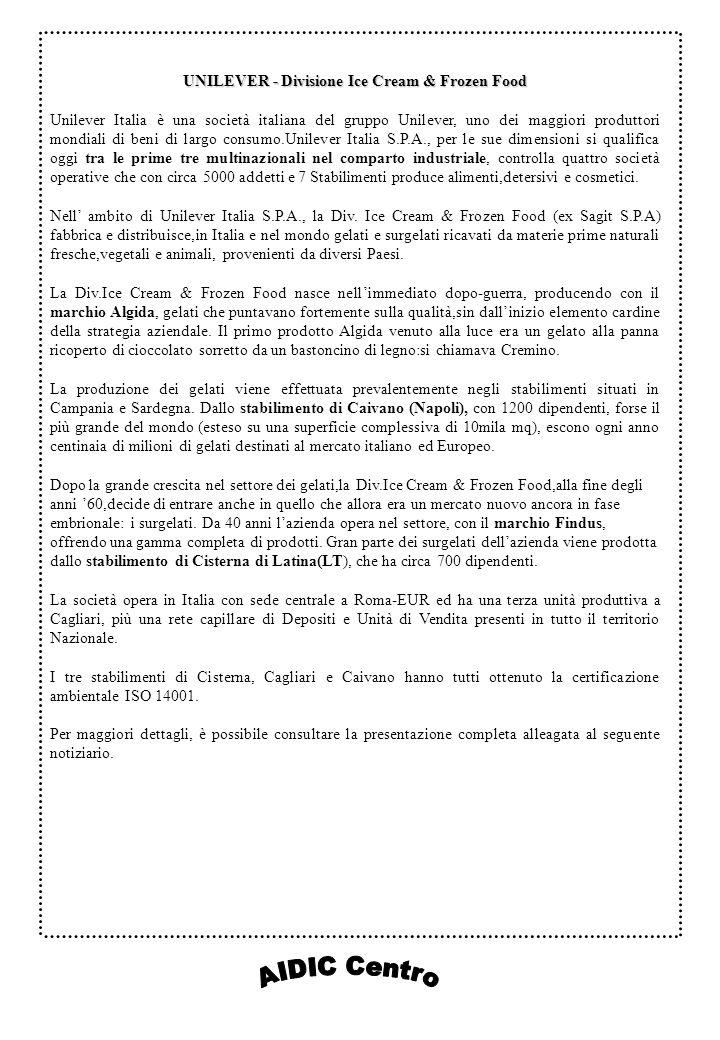 UNILEVER - Divisione Ice Cream & Frozen Food