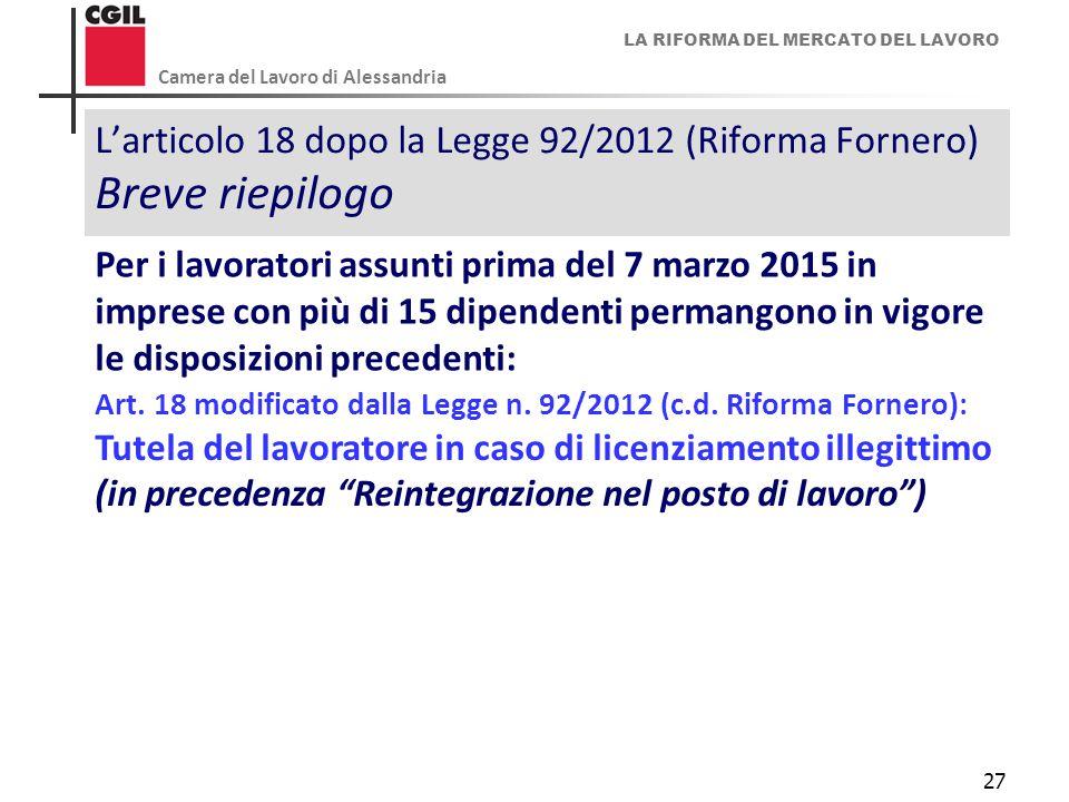 L'articolo 18 dopo la Legge 92/2012 (Riforma Fornero) Breve riepilogo