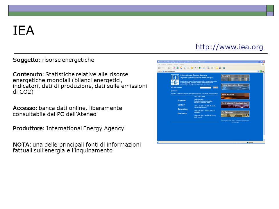 IEA http://www.iea.org Soggetto: risorse energetiche