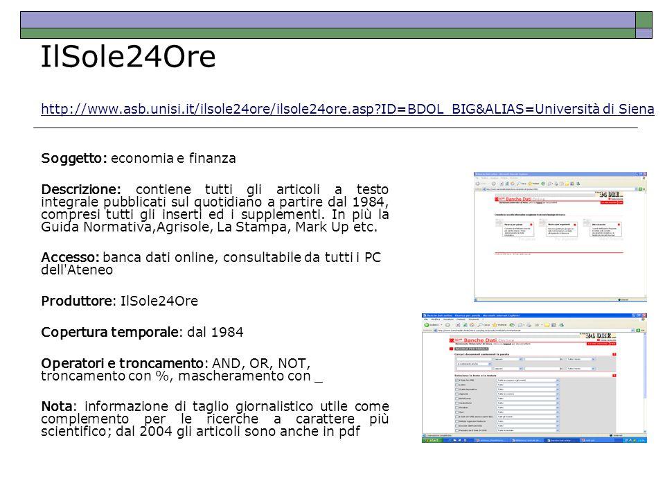 IlSole24Ore http://www.asb.unisi.it/ilsole24ore/ilsole24ore.asp ID=BDOL_BIG&ALIAS=Università di Siena.