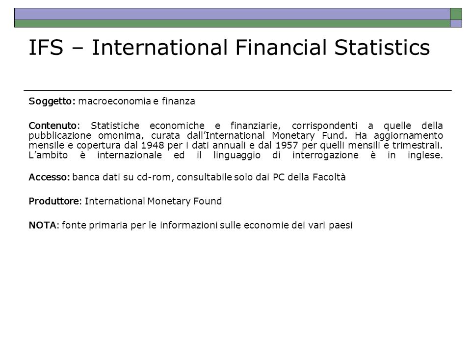 IFS – International Financial Statistics