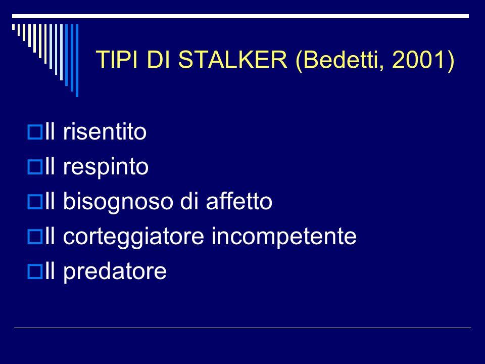 TIPI DI STALKER (Bedetti, 2001)