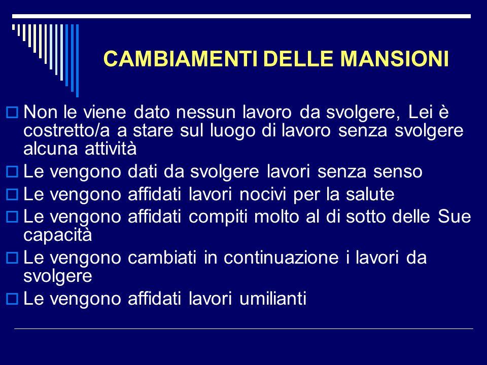 CAMBIAMENTI DELLE MANSIONI