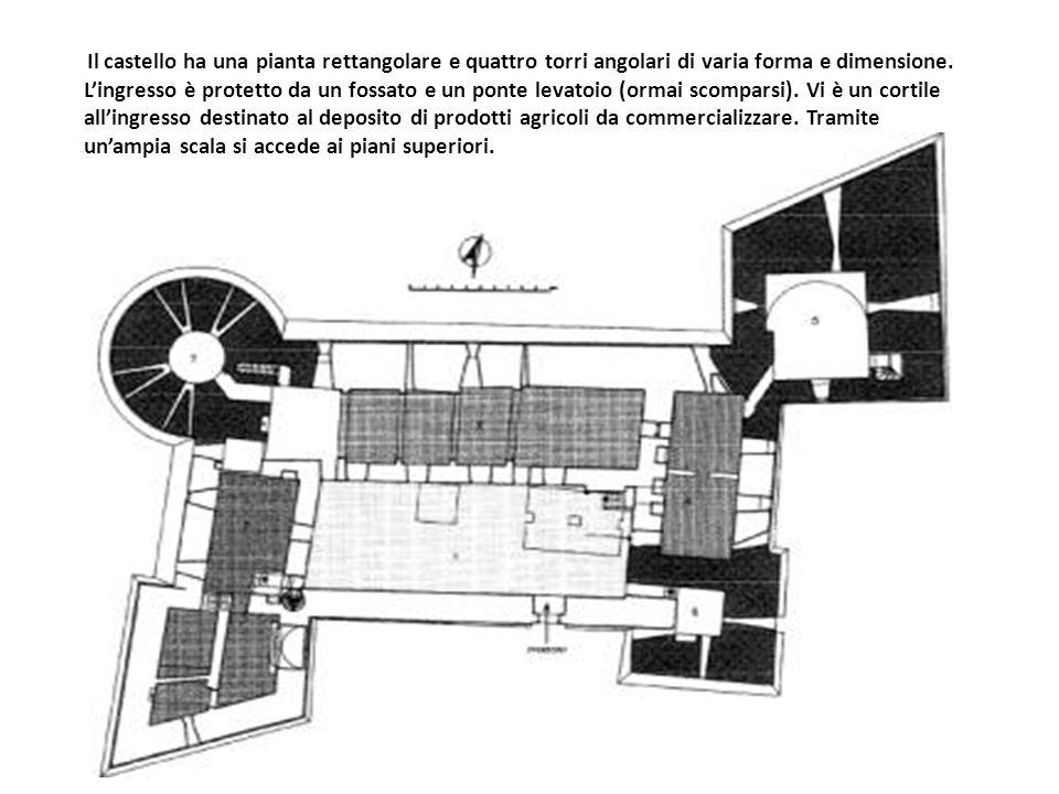 Il castello ha una pianta rettangolare e quattro torri angolari di varia forma e dimensione.