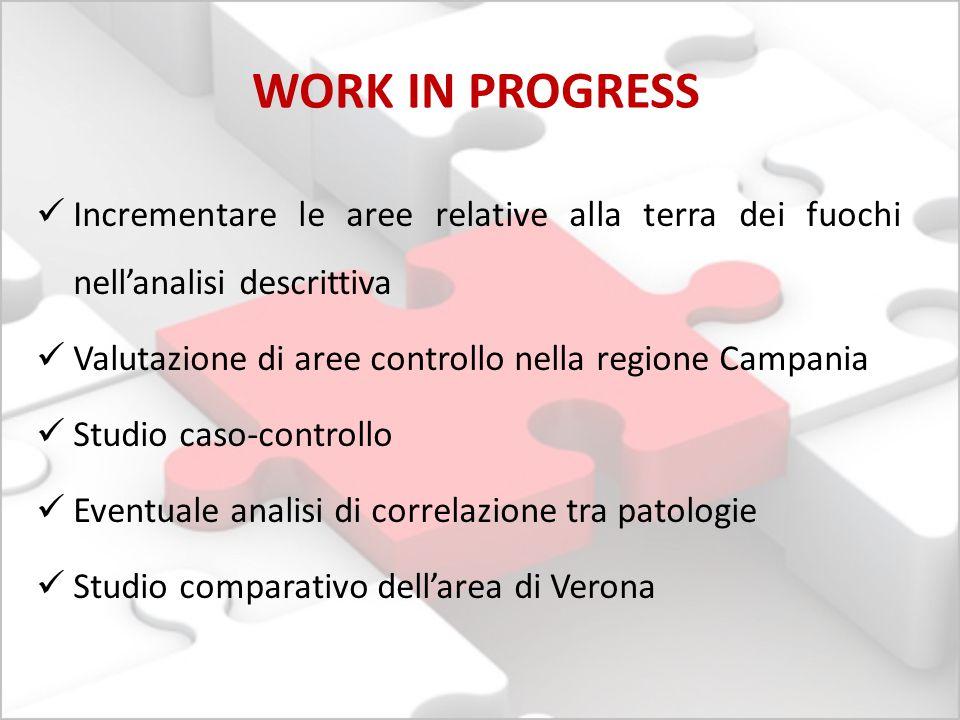 WORK IN PROGRESS Incrementare le aree relative alla terra dei fuochi nell'analisi descrittiva. Valutazione di aree controllo nella regione Campania.