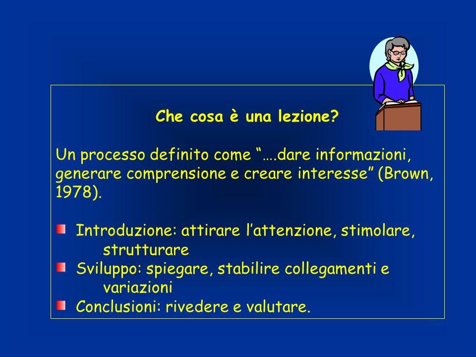 Che cosa è una lezione Un processo definito come ….dare informazioni, generare comprensione e creare interesse (Brown, 1978).