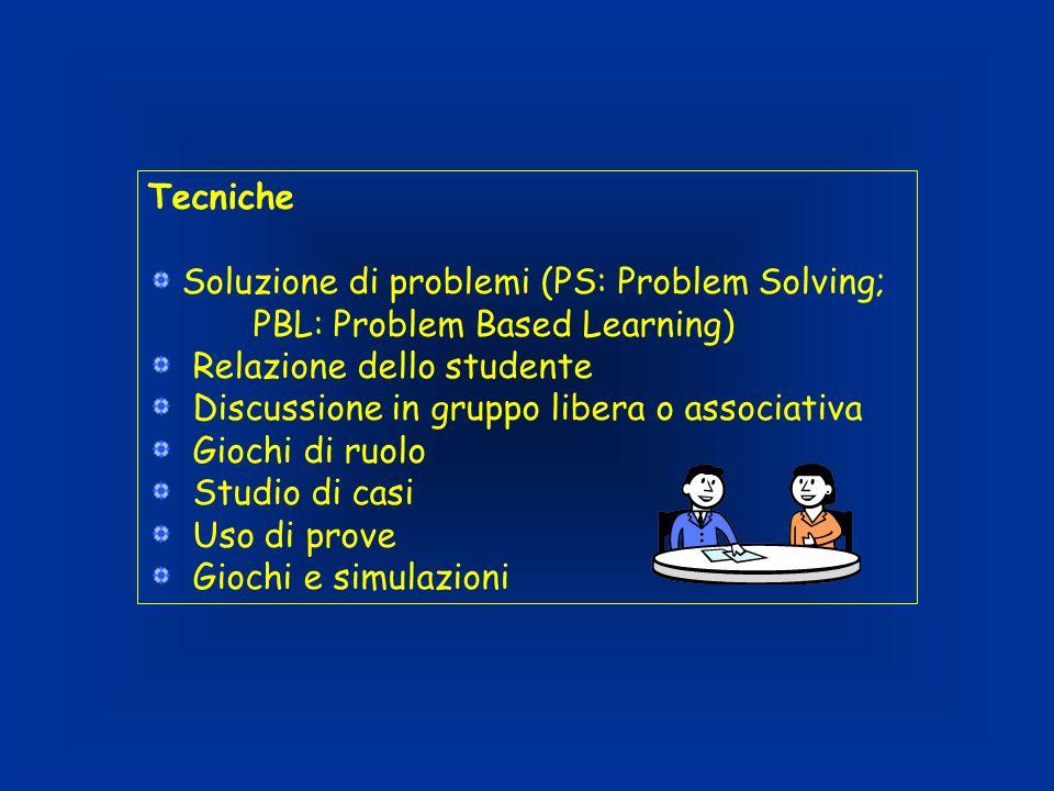 Tecniche Soluzione di problemi (PS: Problem Solving; PBL: Problem Based Learning) Relazione dello studente.