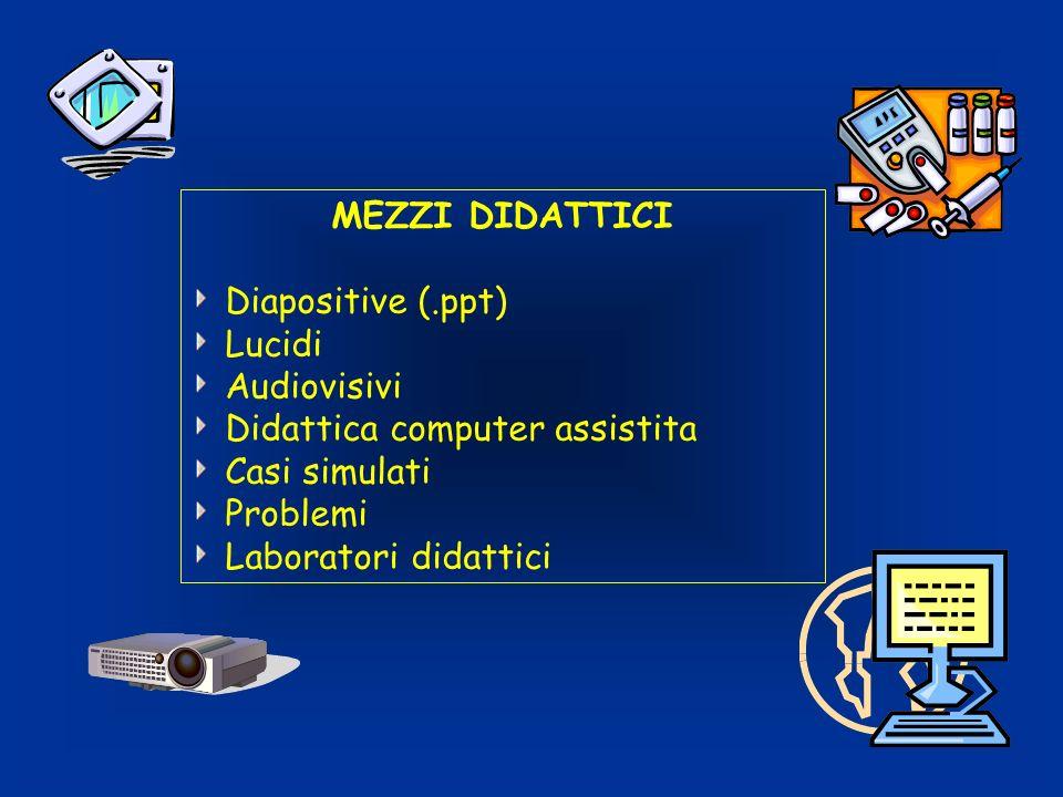 MEZZI DIDATTICI Diapositive (.ppt) Lucidi. Audiovisivi. Didattica computer assistita. Casi simulati.