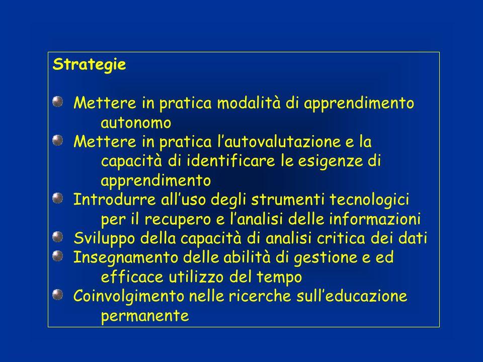 Strategie Mettere in pratica modalità di apprendimento autonomo.