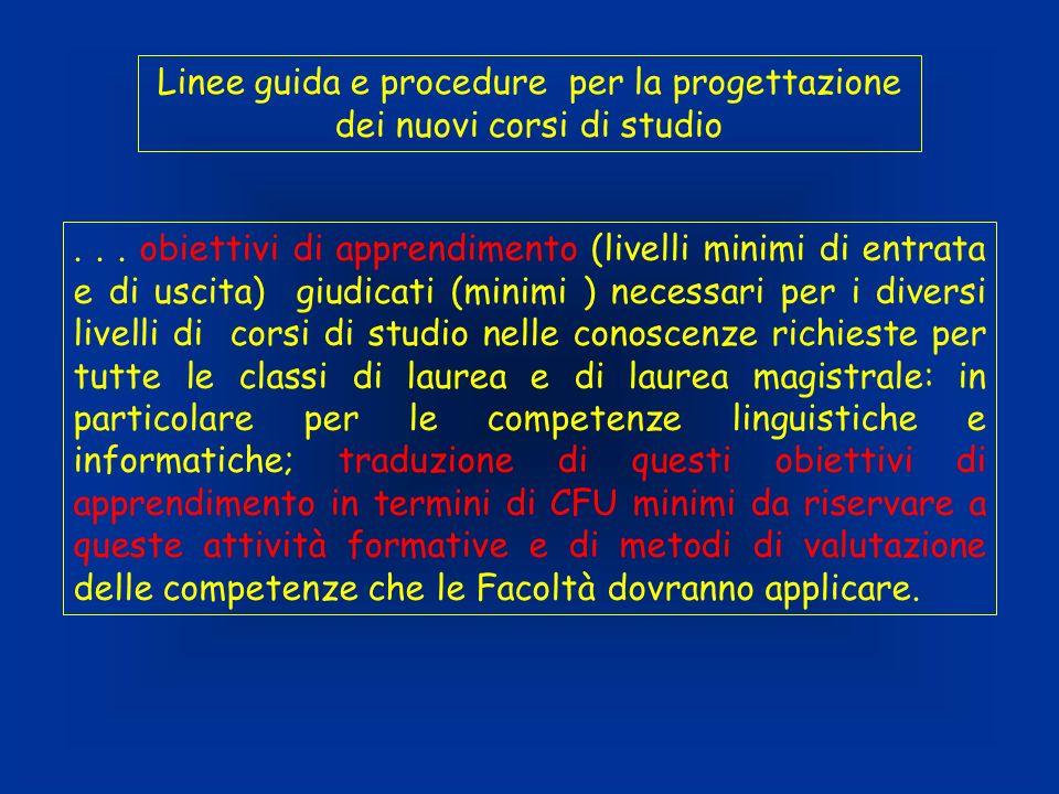 Linee guida e procedure per la progettazione dei nuovi corsi di studio