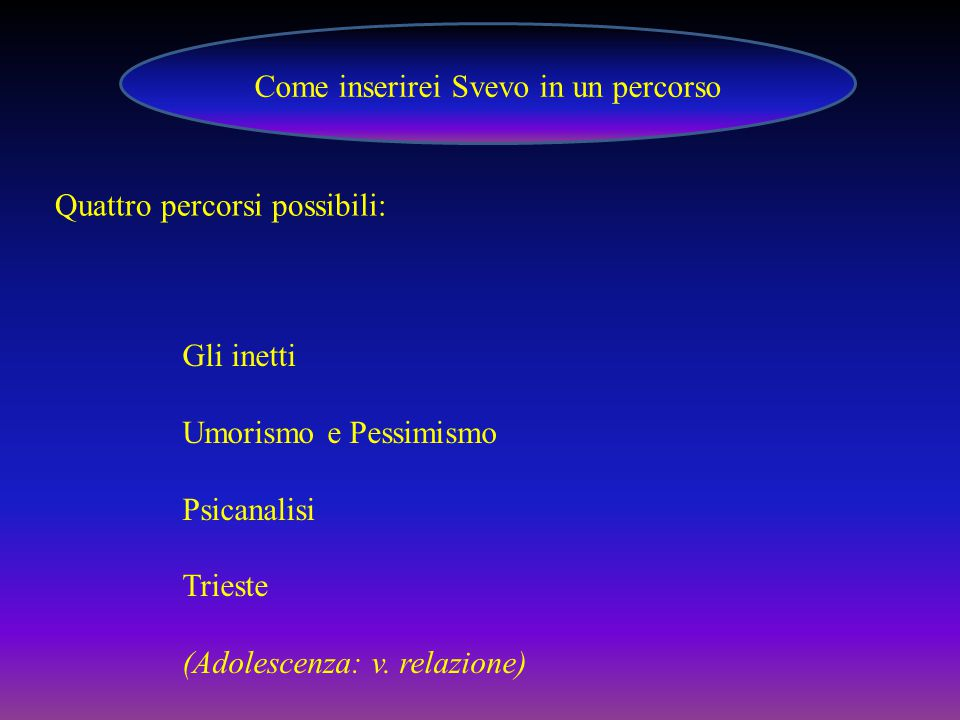Come inserirei Svevo in un percorso
