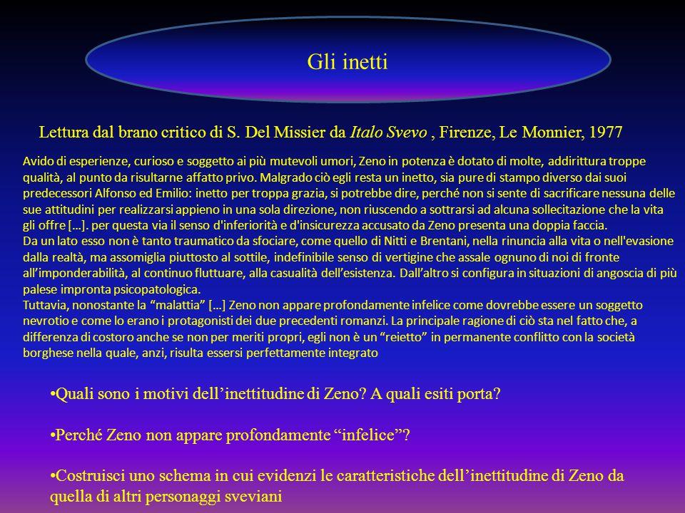 Gli inetti Lettura dal brano critico di S. Del Missier da Italo Svevo , Firenze, Le Monnier, 1977.