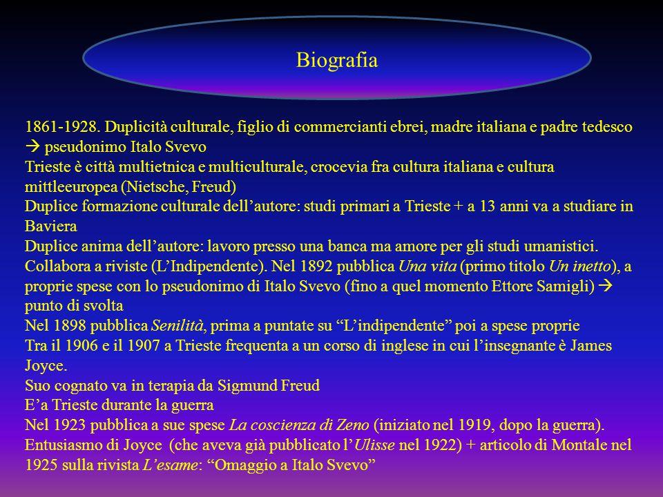 Biografia 1861-1928. Duplicità culturale, figlio di commercianti ebrei, madre italiana e padre tedesco  pseudonimo Italo Svevo.