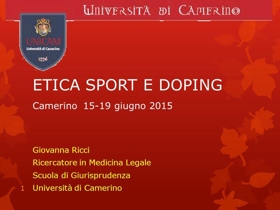 ETICA SPORT E DOPING Camerino 15-19 giugno 2015