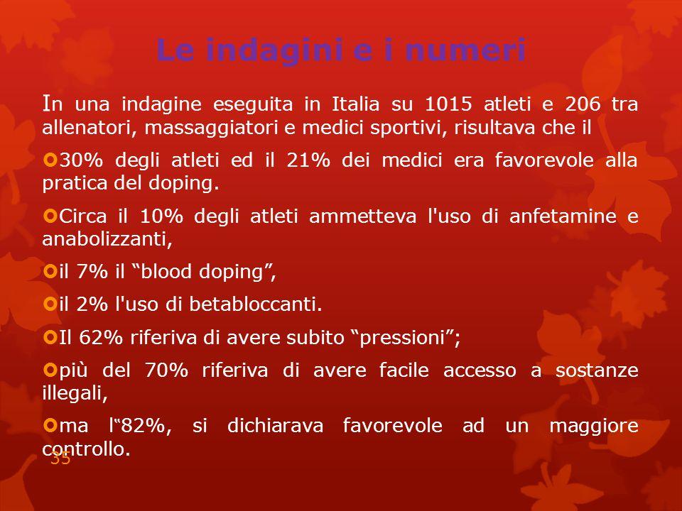 Le indagini e i numeri In una indagine eseguita in Italia su 1015 atleti e 206 tra allenatori, massaggiatori e medici sportivi, risultava che il.