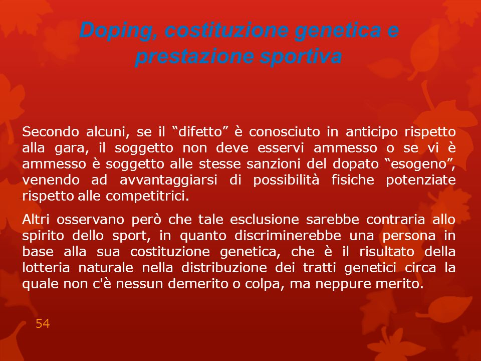 Doping, costituzione genetica e prestazione sportiva