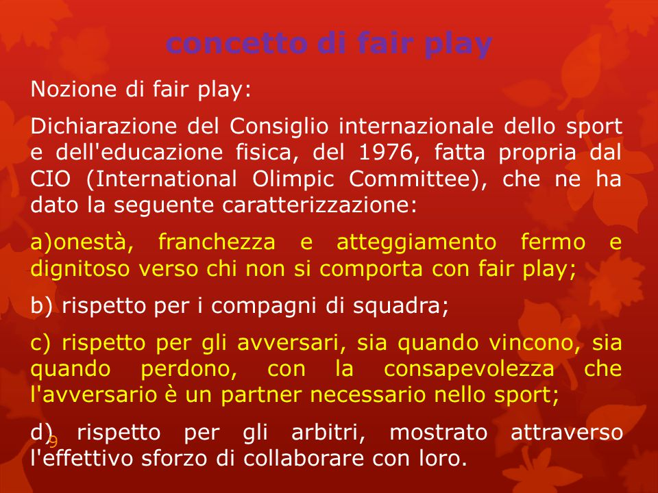 concetto di fair play
