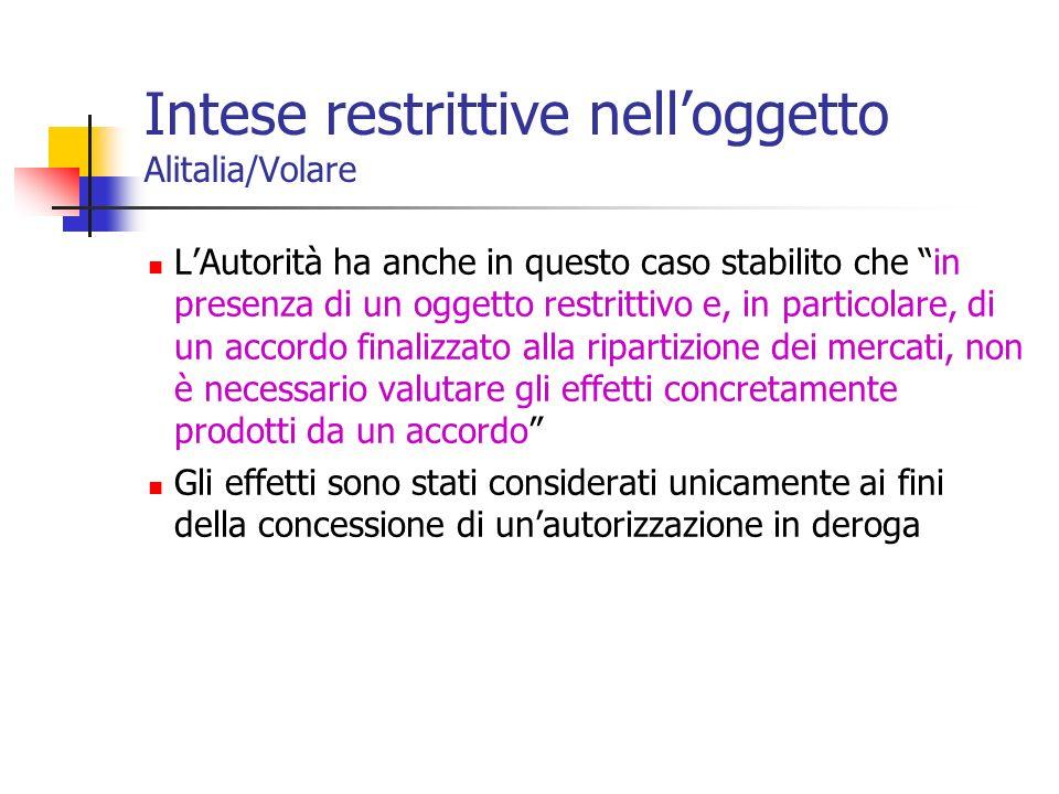Intese restrittive nell'oggetto Alitalia/Volare