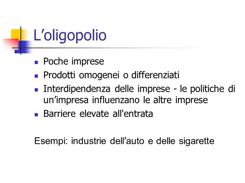 L'oligopolio Poche imprese Prodotti omogenei o differenziati